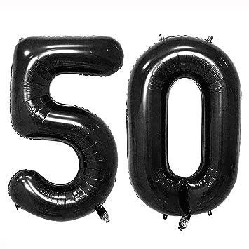 40inch Black 50 Helium Jumbo Digital Number Balloons 50th Birthday Decoration For Women Or Man