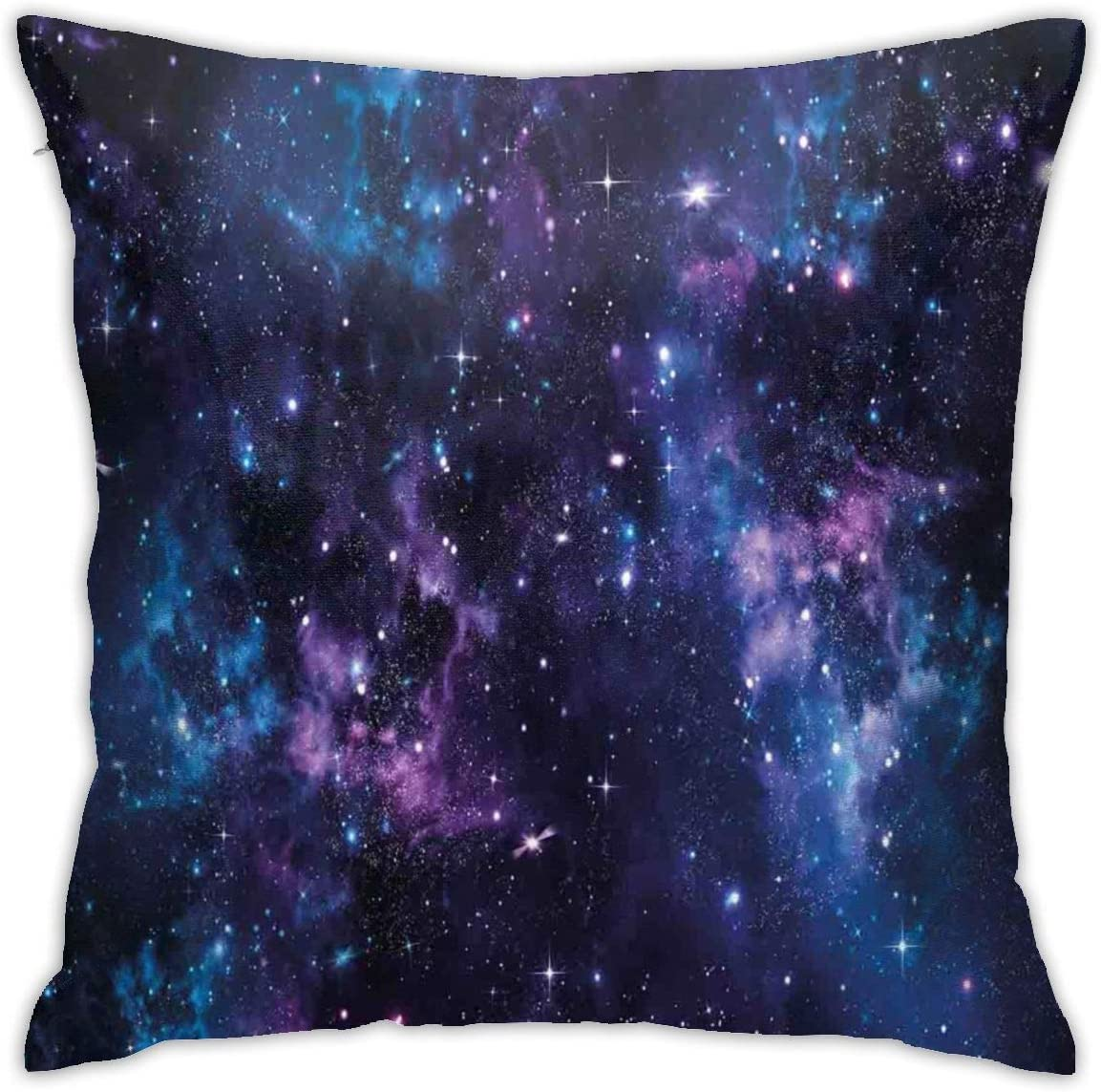 Judascepeda Home Pillowcase Space Mystical Sky with Star Clusters Cosmos Nebula Celestial Scenery Artwork Dark Purple and Blue Decorative Square Accent Pillow Case with 18 X 18 Inches