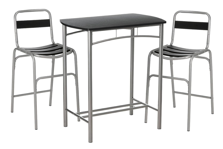 Premier Housewares 2402591 Bar Set de 2 Chaises + 1 Table en Acier-MDF-PVC Enduit