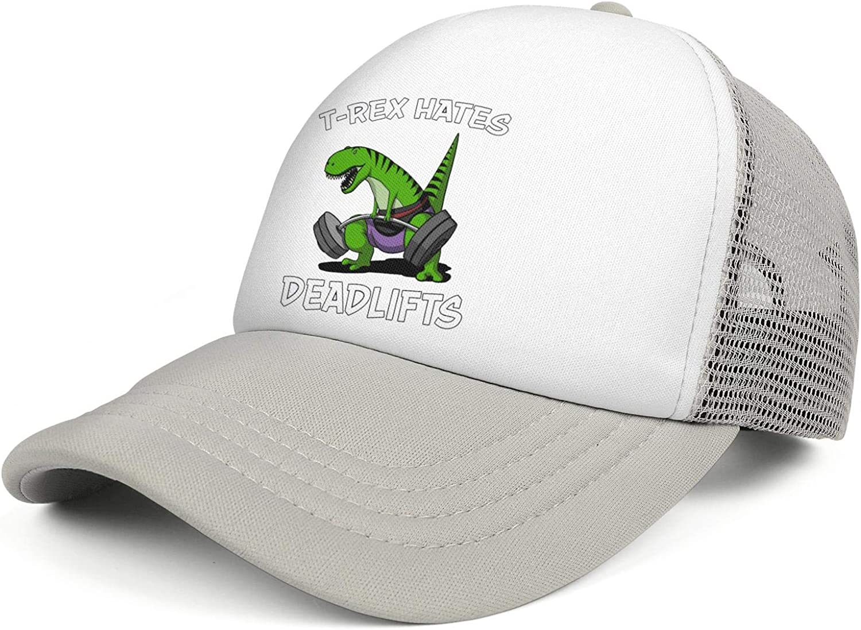 T-Rex Dinosaur Hates Deadlifts Trucker Cap Men//Women Fashion Baseball Cap