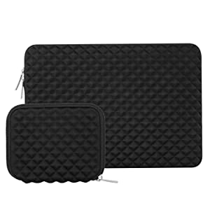 MOSISO Laptop Sleeve Bag Compatible 15-15.6 Inch MacBook Pro, Notebook Computer with Small Case, Shock Resistant Diamond Foam Water Repellent Neoprene Protective Cover, Black