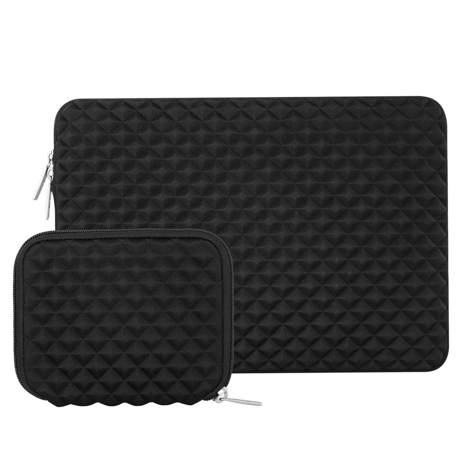 MOSISO Laptop Sleeve Bag Compatible 15-15.6 Inch MacBook Pro, Ultrabook Netbook Tablet with Small Case, Shock Resistant Diamond Foam Water Repellent Neoprene Protective Carrying Cover, Black