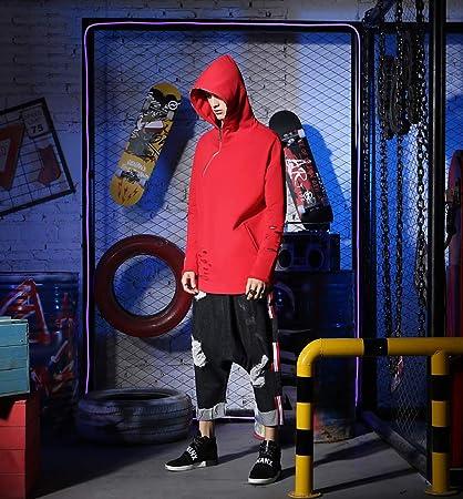 Amazon.com : SXELODIE Sudadera Con Capucha Hombre Calle Hip Hop Hole Imprimir Cremallera Pareja Sudadera : Sports & Outdoors
