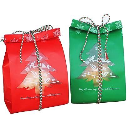 PUTING - 100 bolsas de dulces para galletas de Navidad de 7,8