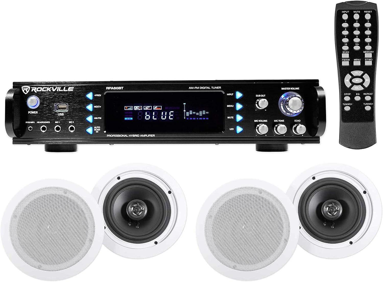 4 Commercial Ceiling Speaker System+Bluetooth Amp/Receiver 4 Restaurant/Office