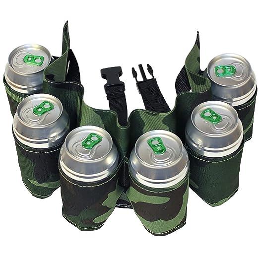 Cinturón porta portavasos cartuccera camuflaje 6 plazas para latas Camouflage con Correa Ajustable Idea regalo B2: Amazon.es: Hogar