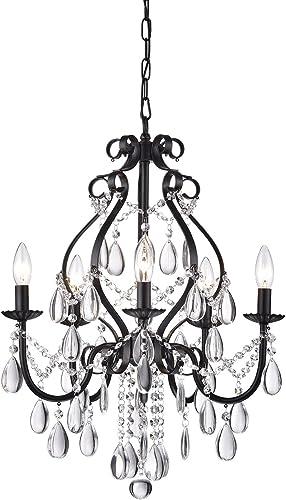 Edvivi 5-Light Amorette Antique Black Crystal Chandelier Ceiling Fixture