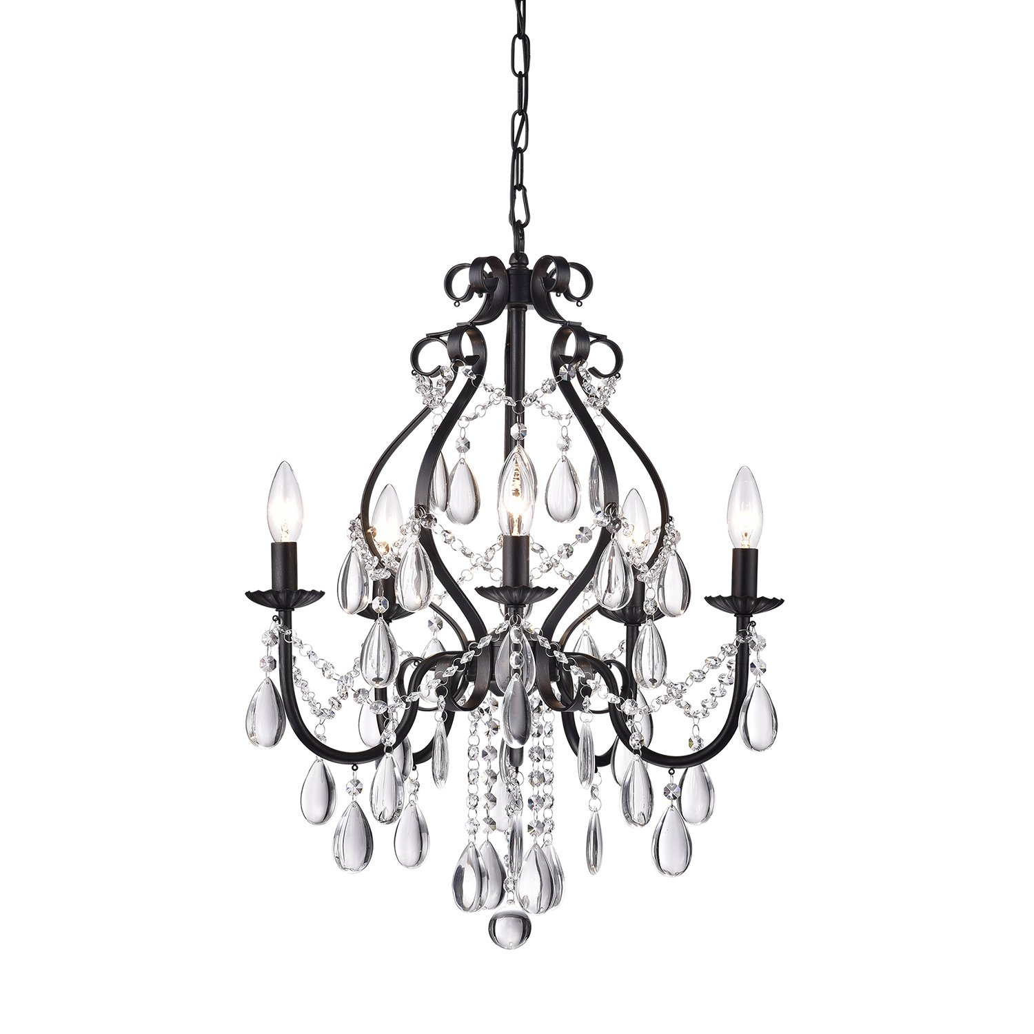 Edvivi 5 light amorette antique black crystal chandelier ceiling fixture glam lighting