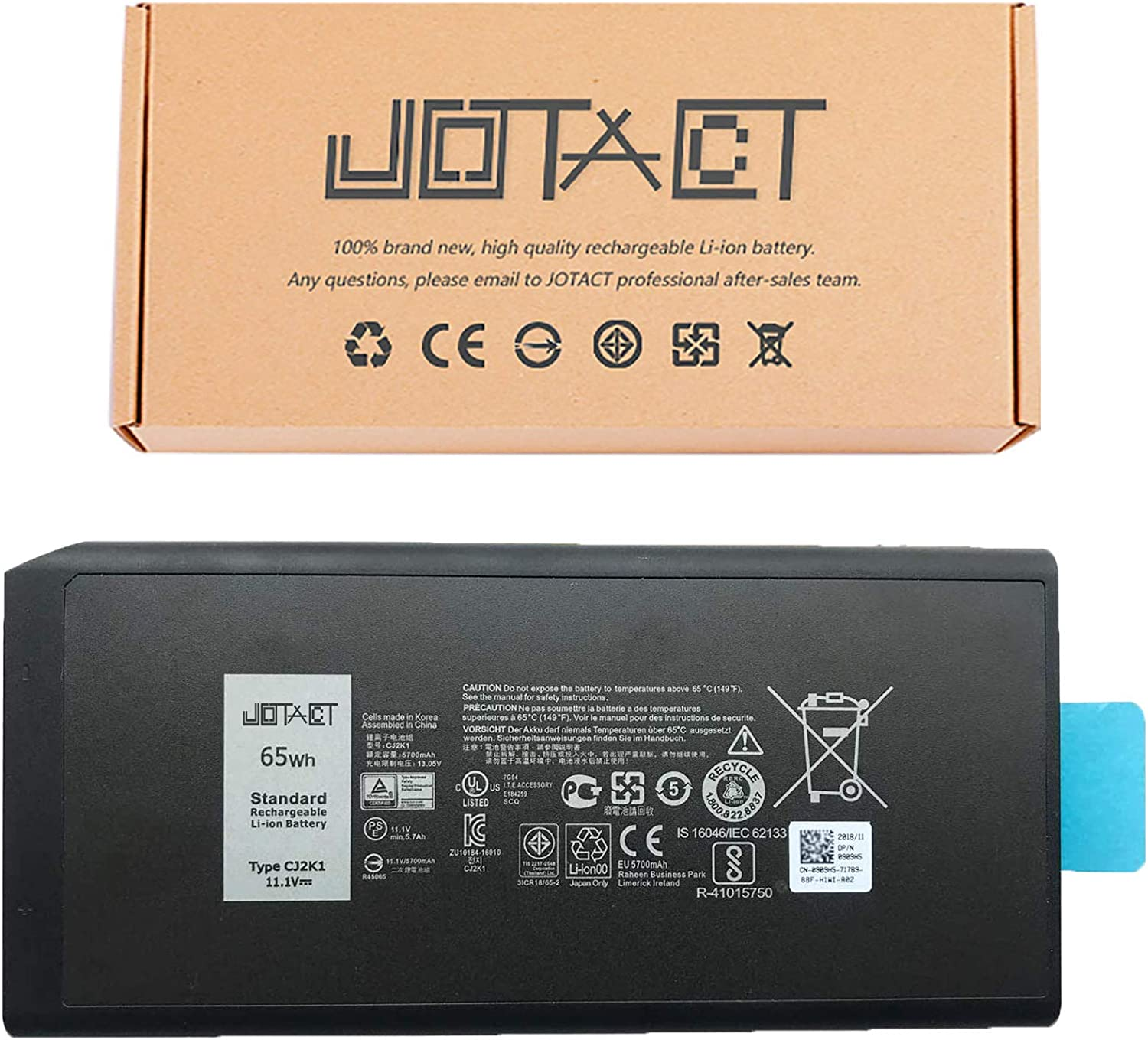 JOTACT CJ2K1(11.1V 65Wh/5700mAh 6-Cell) Laptop Battery Compatible with Dell Latitude 5404 7404 5414 7414 Rugged Extreme Series Notebook DKNKD X8VWF 4XKN5 5XT3V 05XT3V VCWGN 0VCHGN 09FN4