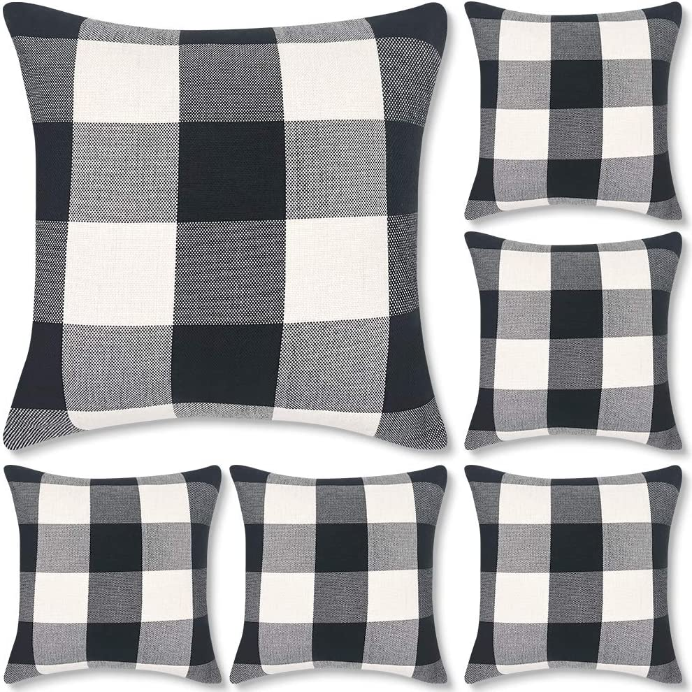 Decorbay Set of 6 Buffalo Check Plaid Throw Pillow Covers 18x18, Farmhouse Square Decorative Pillow Covers for Home Decor, Cushion case Black and White