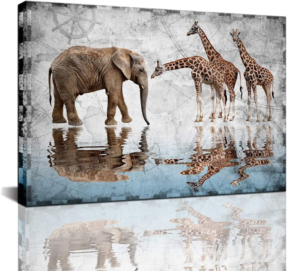 Biuteawal - African Animals Elephant Giraffe Painting Canvas Print on Nautical Map Background Wall Art Wildlife Pictures Contemporary Artwork for Home Office Living Room Bedroom Bathroom Wall Decor