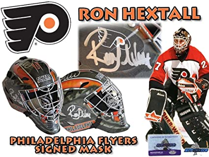 98d0eeca8 Image Unavailable. Image not available for. Color  RON HEXTALL Signed  PHILADELPHIA FLYERS Full Size GOALIE ...
