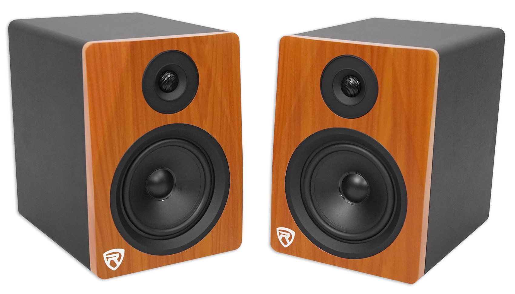Pair of Rockville APM5C 5.25'' 2-Way 250 Watt Powered USB Studio Monitor Speakers in Classic Wood Finish