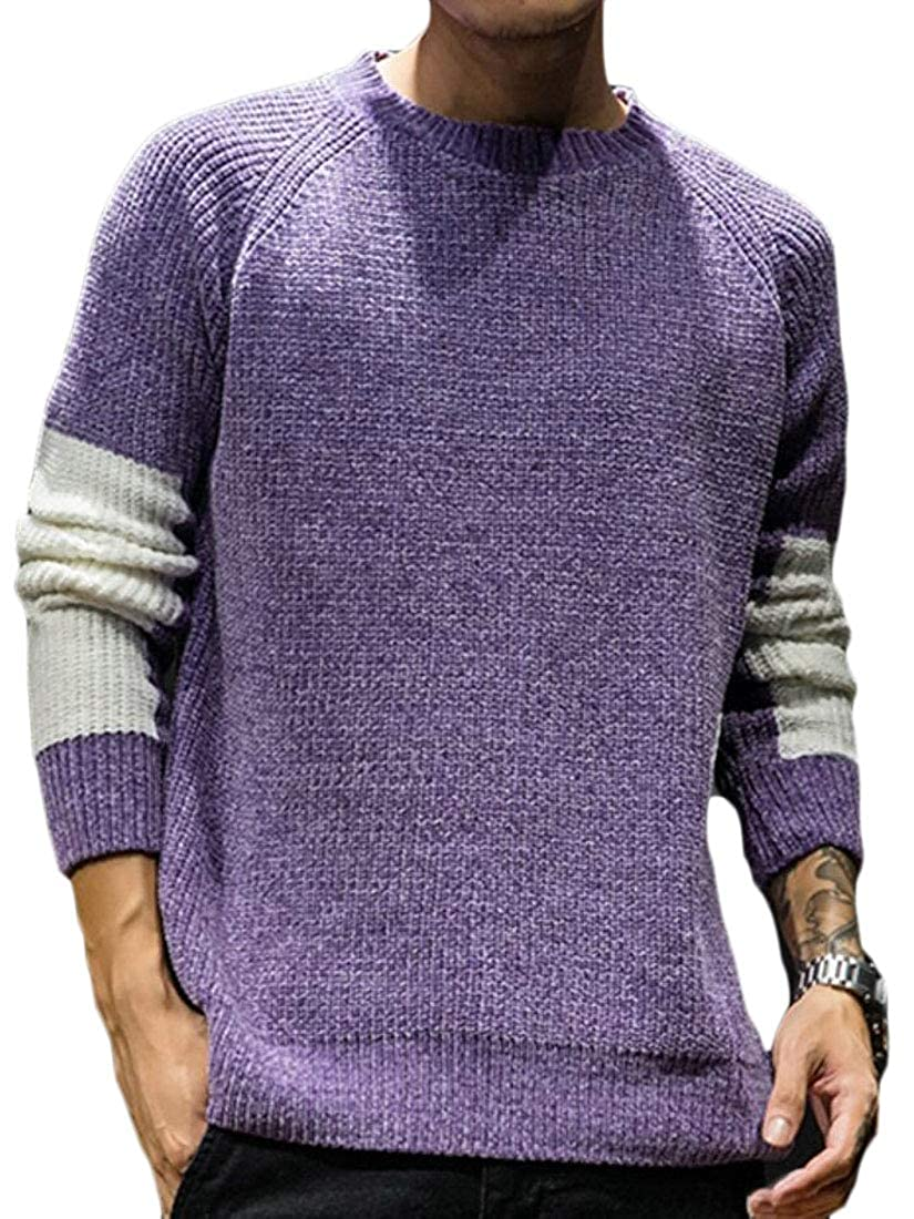 Jmwss QD Mens Warm Knitted Hipster Color Stitching Slim Crewneck Pullover Sweaters