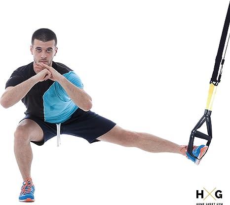 JOWY Suspension Trainer o Training con Correas Ajustables de Carga hasta 500kg es Ideal para Ejercicios y Entrenamientos de Musculación, Fitness o ...