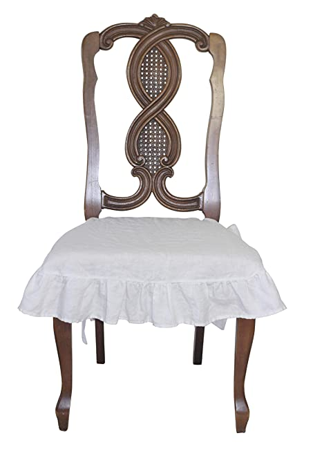 Dining Beautiful Linen Chair Seat Cover 4 Sided Ruffle Large White