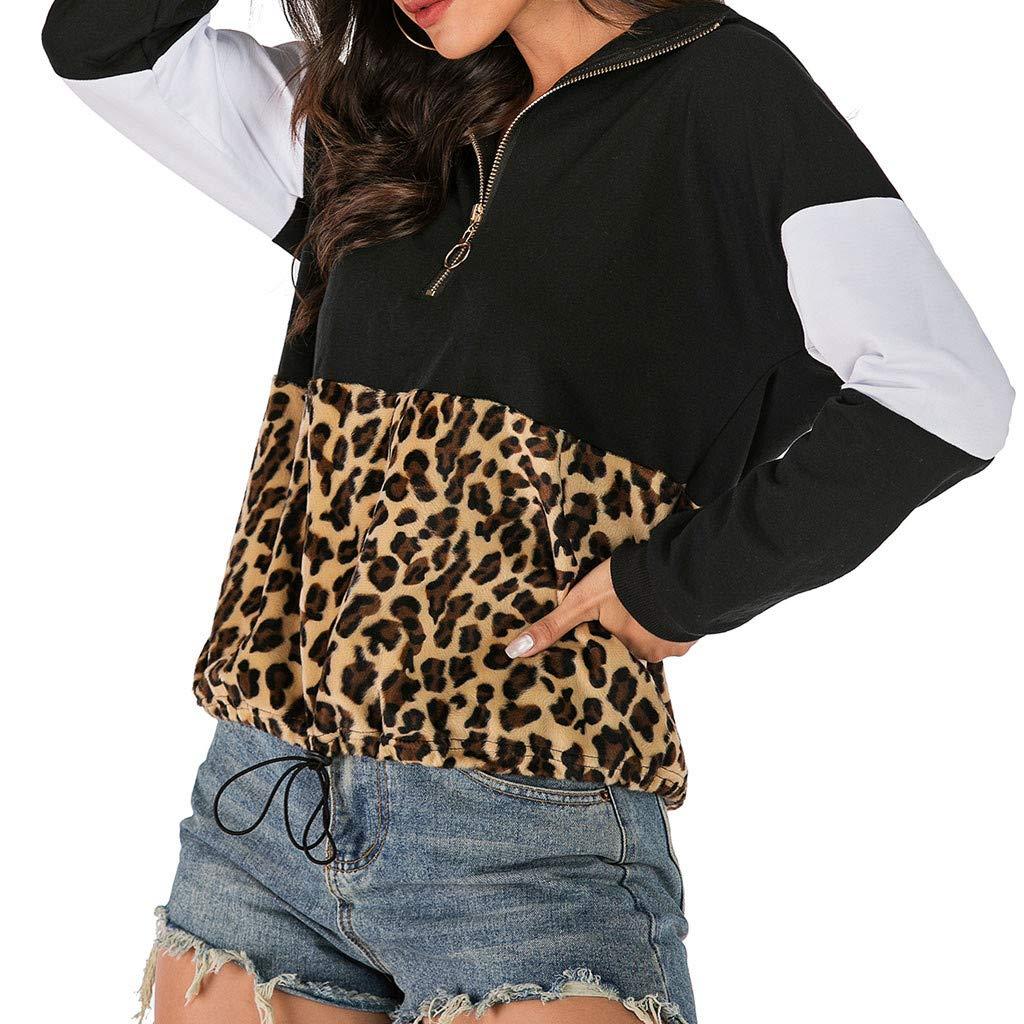 Women Long Sleeve Hooded Leopard Print Color Block Casual Sweatshirt Top Autumn Winte 1//4 Zip Pullover