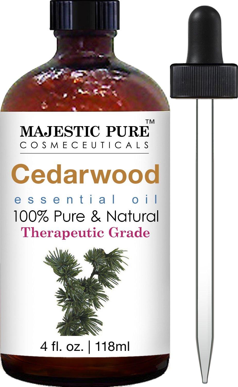 Majestic Pure Cedarwood Essential Oil, Pure and Natural with Therapeutic Grade, Premium Quality Cedarwood Oil, 4 fl. oz.