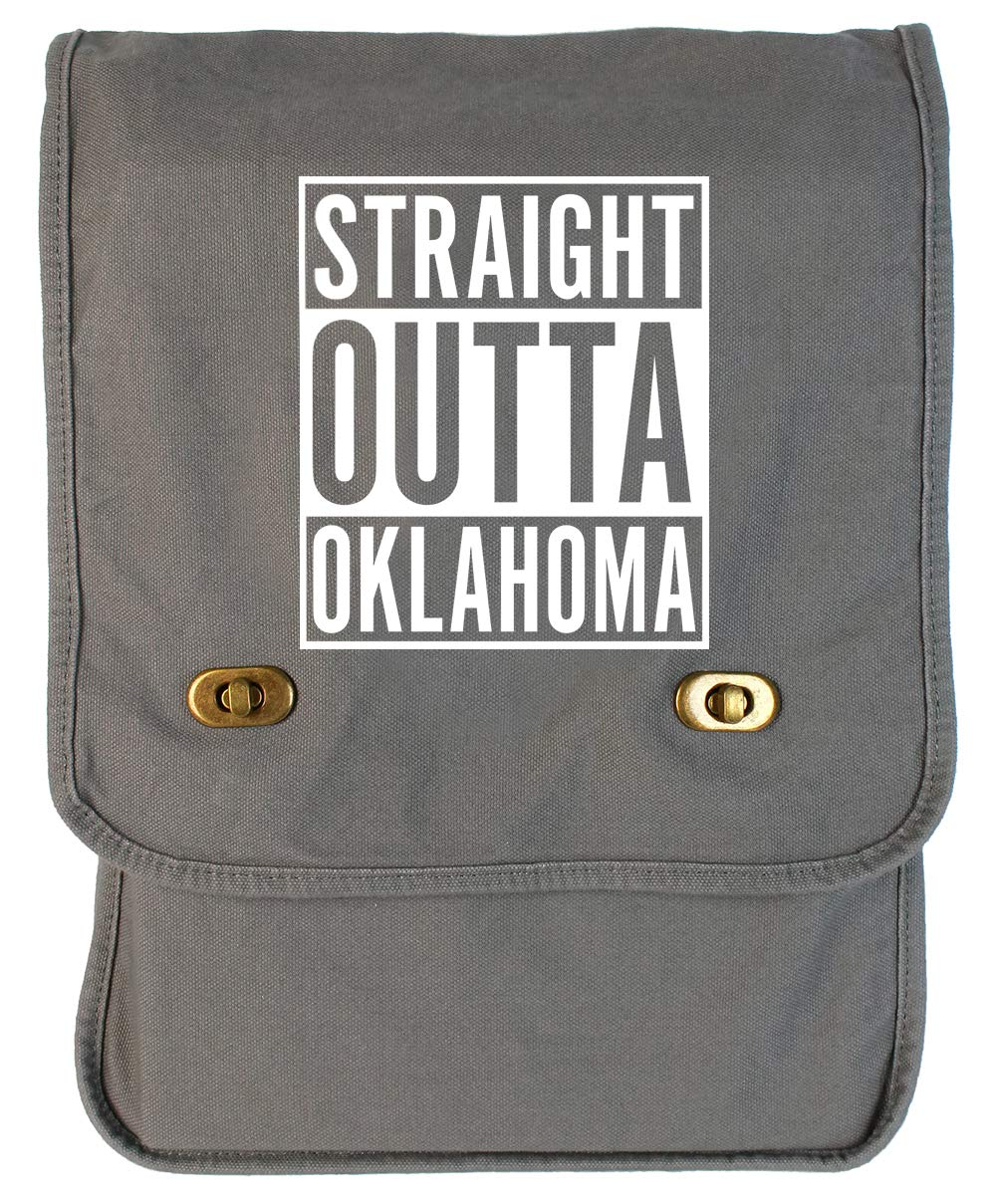 Tenacitee Straight Outta Oklahoma Red Brushed Canvas Messenger Bag