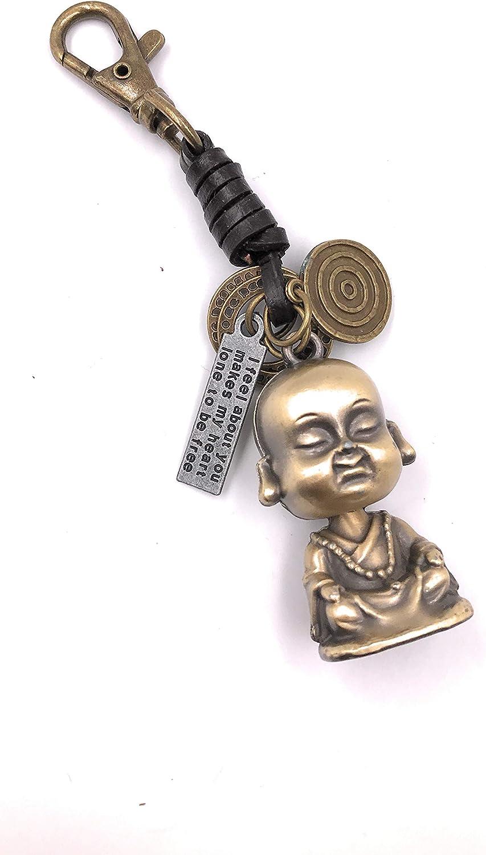 Onlineworld2013 Llavero Buda Cuero fe Budismo Metal Colgante Encanto