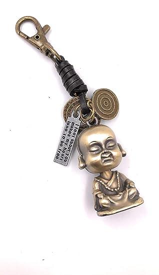 Onlineworld2013 Llavero Buda Cuero fe Budismo Metal Colgante ...