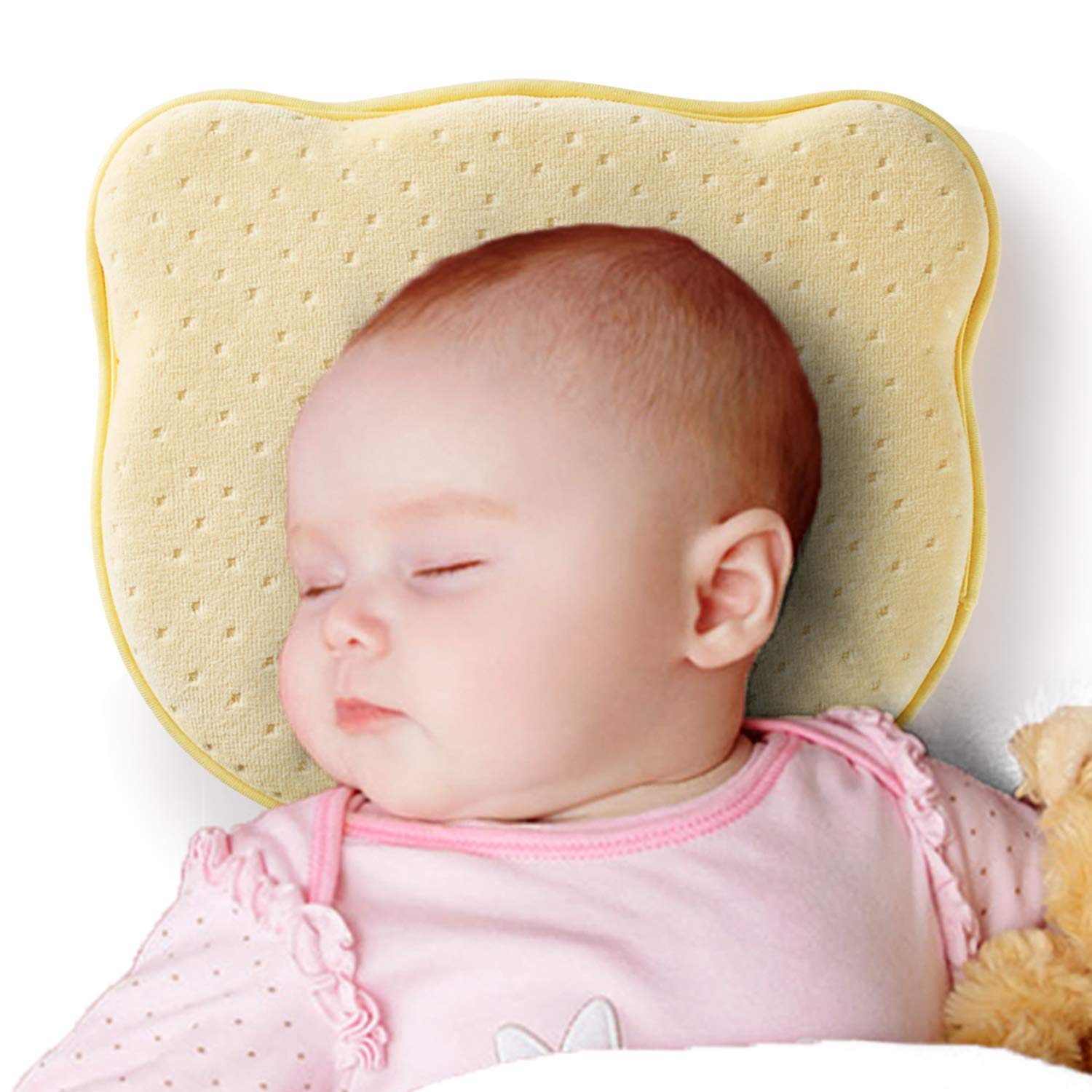 Memory Foam Cushion for Flat Head Syndrome Prevention and Newborn Baby Pillow
