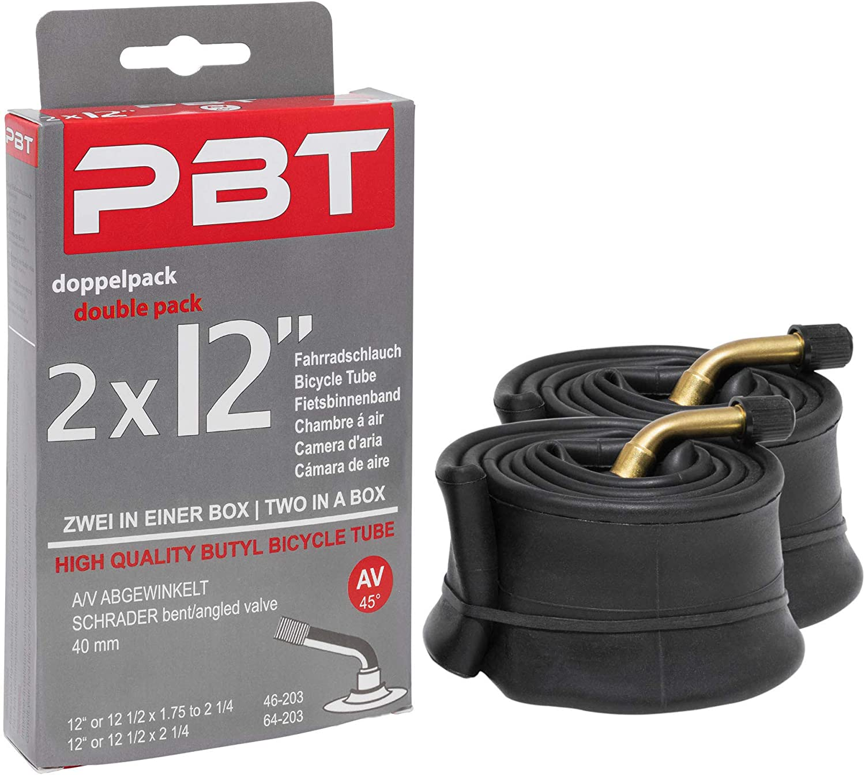 Rosca niquelada 12 1//2 x 1,75 hasta 2 1//4 Pack doble Edition 2021 pbt C/ámara de aire acodada de 2 x 12 pulgadas para cochecitos o ruedas y m/ás