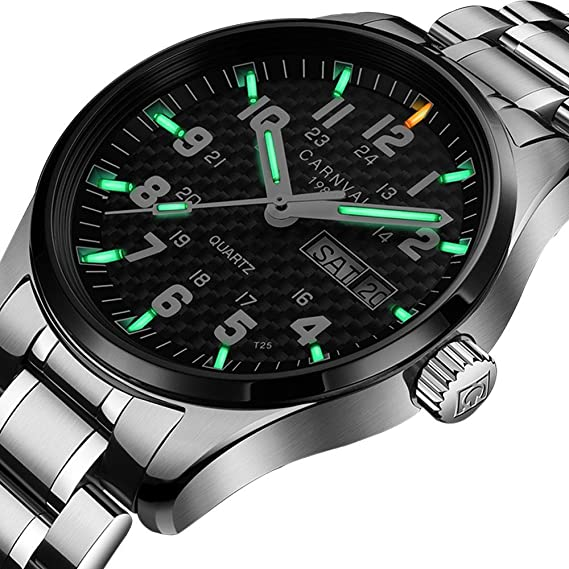 Amazon.com: Swiss Brand Analog Quartz Watch Outdoor Military Tritium Gas Super Bright Self Luminous Blue Or Green (Black Bezel-Green Light): Watches