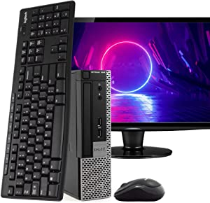 "Dell OptiPlex 7010 Ultra Small Space Saving PC Desktop Computer, Intel i5, 8GB RAM 500GB HDD, Windows 10 Pro, 24"" LCD Monitor, New 16GB Flash Drive, Wireless Keyboard & Mouse, DVD, WiFi (Renewed)"