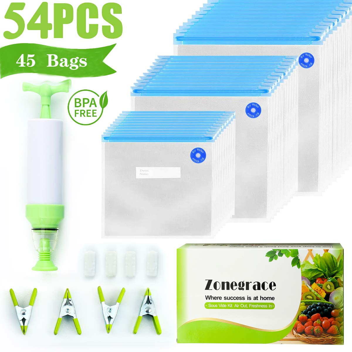 Zonegrace Sous Vide Bags 45 Reusable Vacuum Food Storage Bags for Anova and Joule Cookers - 3 sizes Sous Vide Bag Kit with Pump - 4 Sealing Clips - 4 Sous Vide Bag Clips for Food Storage and Sous Vide Cooking by Zonegrace