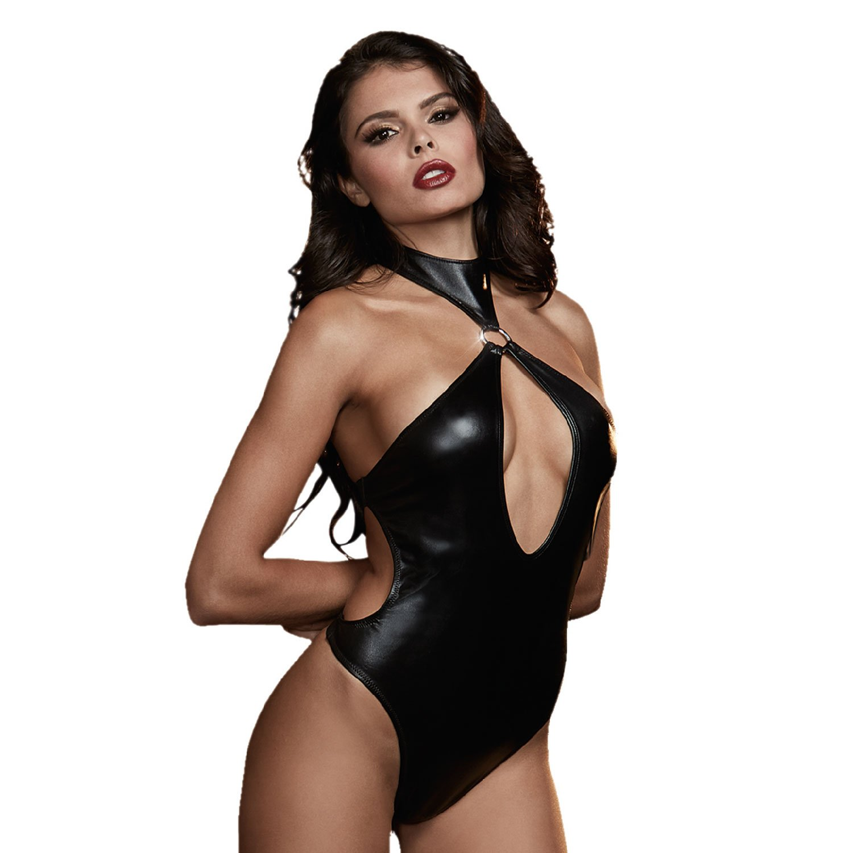 130b3e35ca DreamGirl Women s Faux Leather Look Stretch Sexy Teddie