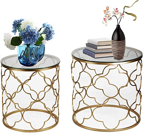 End Tables Set of 2, Gold Nesting Side Coffee Table Decorative Round Nightstands Glass Top