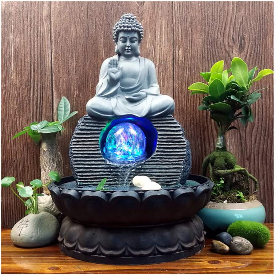 Amazon Com Indoor Water Fountain Buddha Statue Waterfall Ornaments With Colorful Crystal Ball Great For For Office Living Room Bedroom 20 5x28cm Kitchen Dining