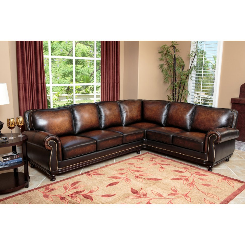 Exceptional Amazon.com: Abbyson Living Nizza Woodtrim Hand Rubbed Leather Sectional In  Brown: Kitchen U0026 Dining