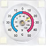 Dial / analogue stick on Window thermometer - read outside temperature from inside house -60 to +120 Fahrenheit and -50 to +50 Centigrade
