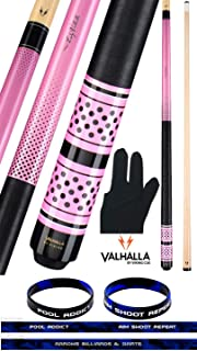 product image for Valhalla VA453 by Viking 2 Piece Pool Cue Stick Linen Wrap, Michigan Maple, Pink Original Artwork, High Impact Ferrule, Nickel Silver Rings 18-21 oz. Plus Billiard Glove & Bracelet