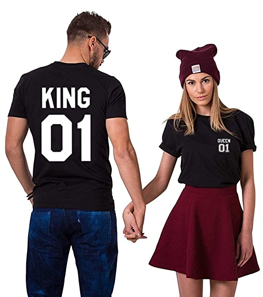 12cf16dbc18 Couple Tshirt King Queen Shirts Sweet Tee Cotton Short Sleeves (bk-King-2XL