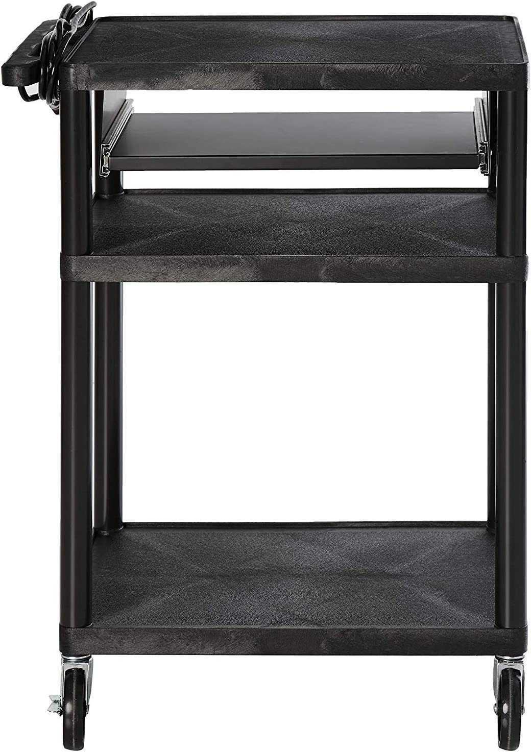Offex Mobile 3-Shelf Presentation Storage AV Cart with Electric 4 Casters, Black OF-LP34LE-B