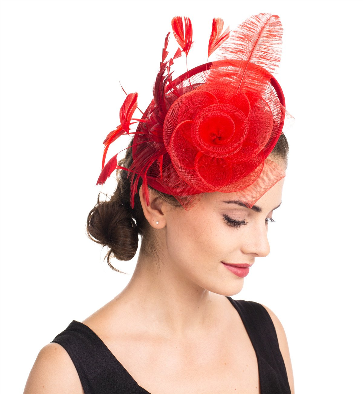 82f37966b57a1 SAFERIN Fascinators Hat Sinamay Flower Mesh Feathers on a Headband and a Clip  Tea Party Headwear