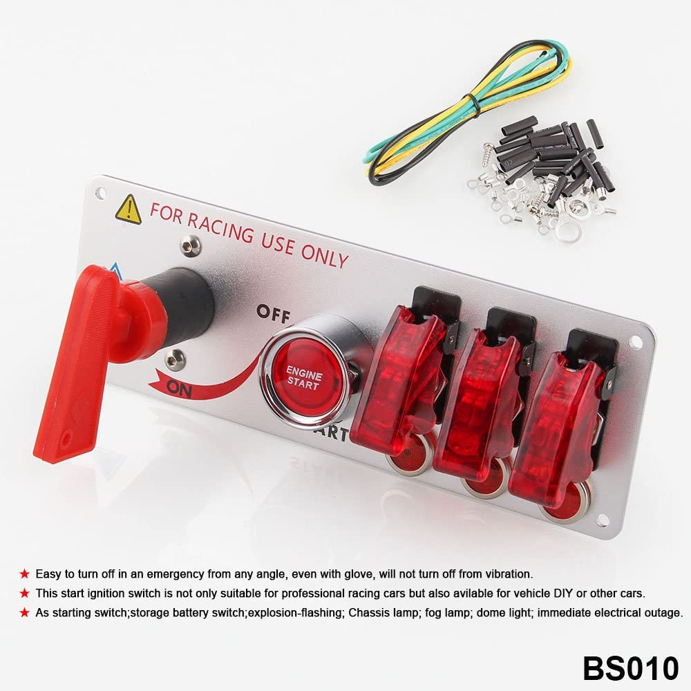 DC 12V Flip-up Ignition Switch Panel 5 in 1 Car Engine Start Push Button LED DIY