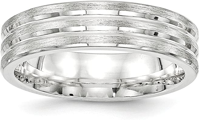 925 Sterling Silver 7mm Brushed Fancy Size 7 to 13.5 Band Ring