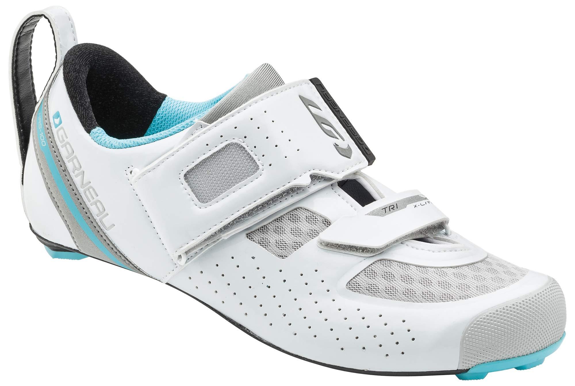 Louis Garneau Women's Tri X-Lite 2 Lightweight Triathlon Transition Bike Shoes, White/Blue Fish, US (6.5), EU (37) by Louis Garneau