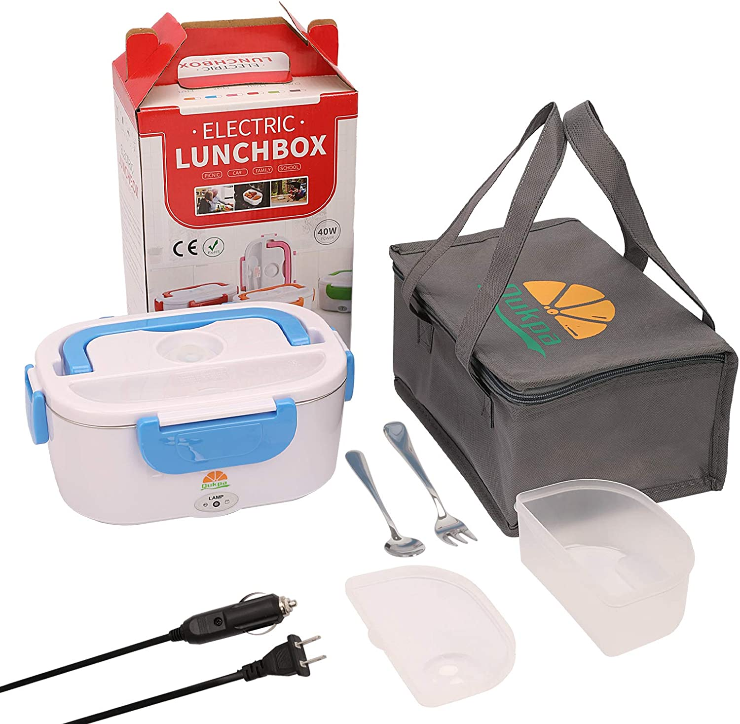 Electric Lunch Box Food Warmer, Car & Home Portable Food Heater 2 Compartments, 110V & 12V & 24V 3 in 1 Mini Lunchbox with 304 Stainless Steel Fork & Spoon and Carry Bag