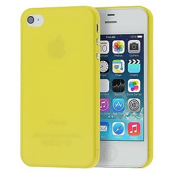 doupi UltraSlim Funda para iPhone 4 4S, Finamente Estera Ligero Estuche Protección, amarillo