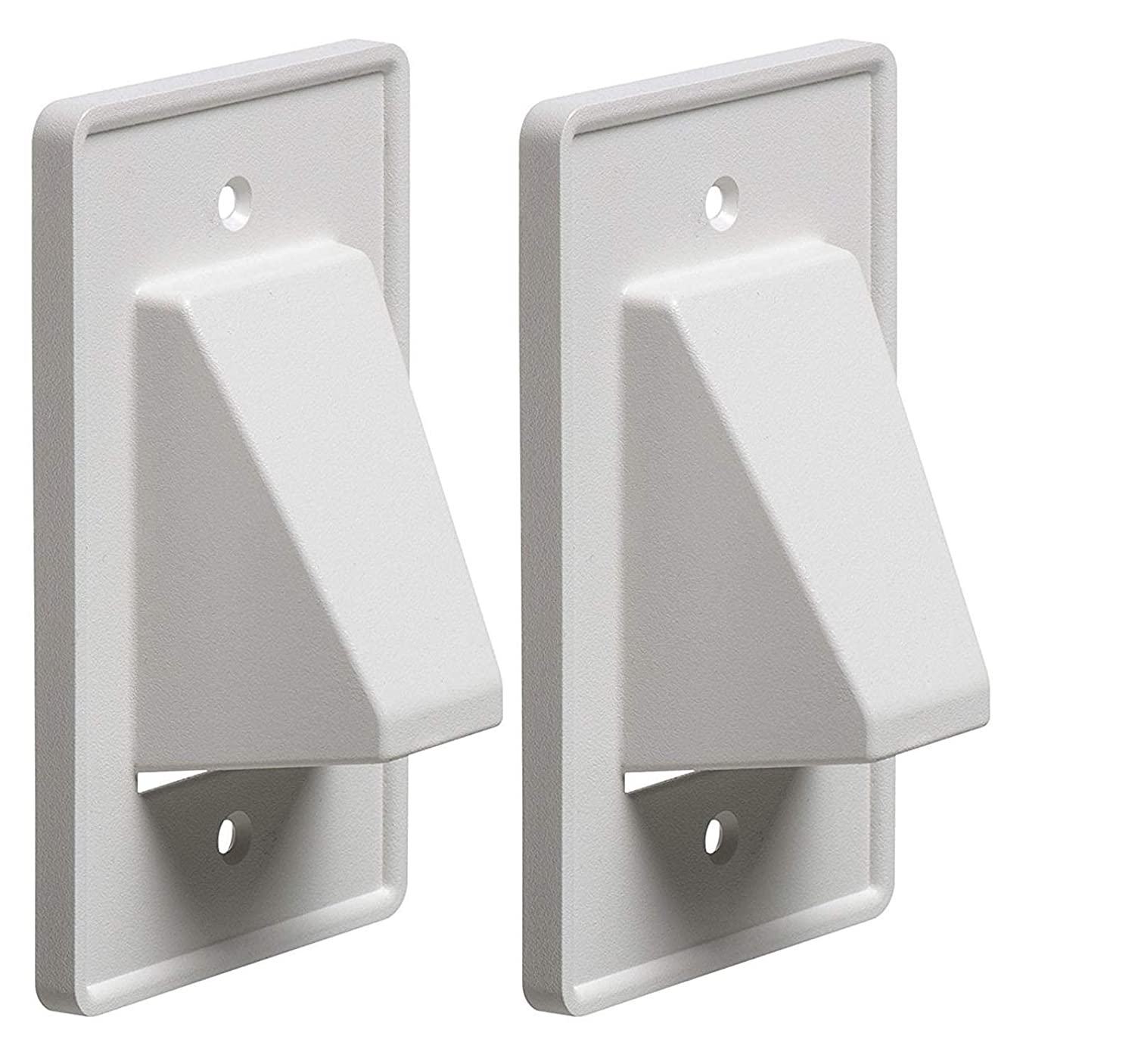 iMBAPrice CE1 2 Recessed Low Voltage Cable Plate 1 Gang White 2 Pack Made in USA