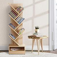 Artiss 7 Tier Tree Bookshelf Wooden Bookcase CD DVD Storage Rack, Natural