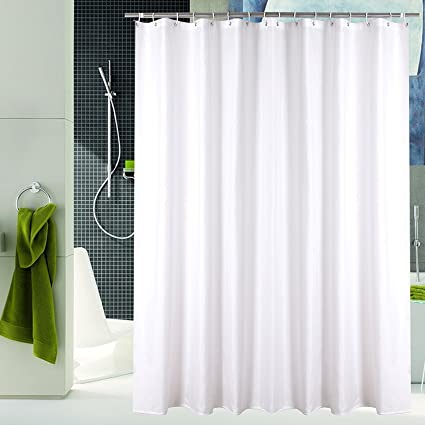 Luunaa Mildew Resistant Polyester Fabric Shower Curtain With Hooks Waterproof Non Toxic Eco Friendly