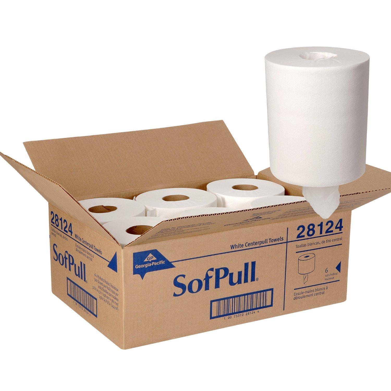 Georgia-Pacific Sofpull 28124 Regular Capacity Premium Centerpull Paper Towels, White, 15'' L x 7.8'' W by Georgia-Pacific