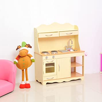 4579eb3fea03 HOMCOM Large Wooden Kids Kitchen Children's Pretend Role Play Set Cooking  Toys Cooker Imagination Early Learning