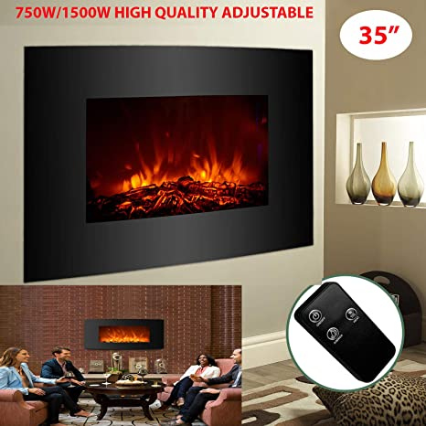 """35/"""" Electric Fireplace Wall-Mounted Remote Control Curved Front Glass 1500W"""